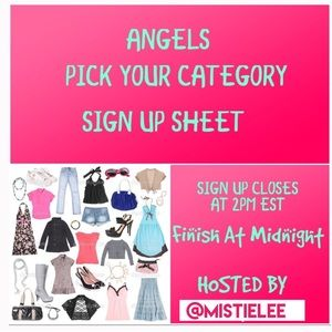 👗TUESDAY PICK YOUR CATEGORY SIGN UP SHEET👒